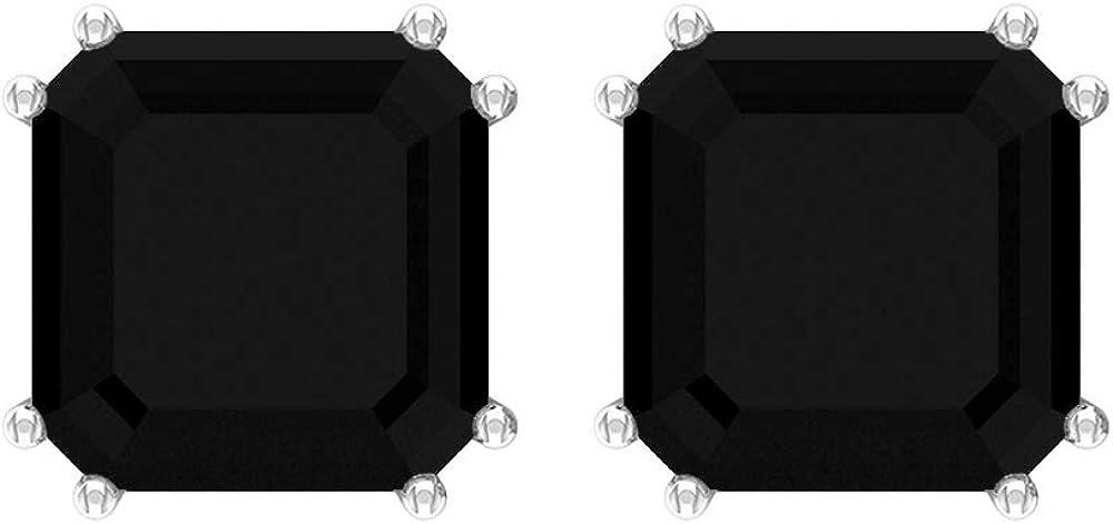 Asscher Stud Earrings, 6.3 CT Asscher Shaped 8 MM Black Spinel Solitaire Earrings, Gemstone Jewelry, Asscher Cut Earrings, Gift for Girlfriend, Screw Back
