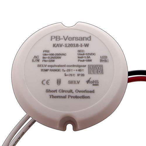 PB-Versand LED Leuchmittel Trafo 12V DC 12 Watt rund für z.B. Unterputzdosen Verteilerdosen Netzteil Treiber Transformator (18 Watt)