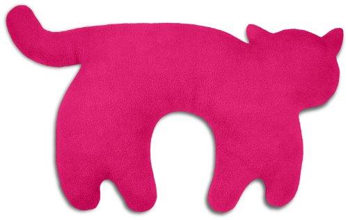 Leschi REISEKISSEN für erholsamen Schlaf in Auto, Flugzeug und Camping-Bett/Reisegeschenk für Kinder und Erwachsene/waschbares Nackenkissen/Katze Feline, pink schwarz