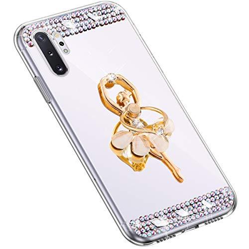 Uposao Kompatibel mit Samsung Galaxy Note 10 Plus Glitzer Spiegel Hülle mit Ring Ständer Halter...