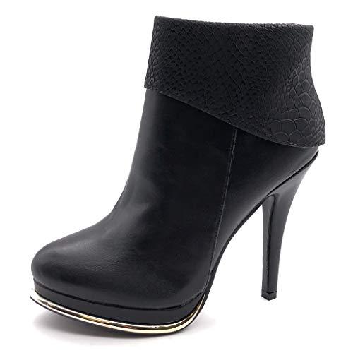 Angkorly - Damen Schuhe Stiefeletten - Plateauschuhe - Sexy - Stiletto - Schlangenhaut - golden...