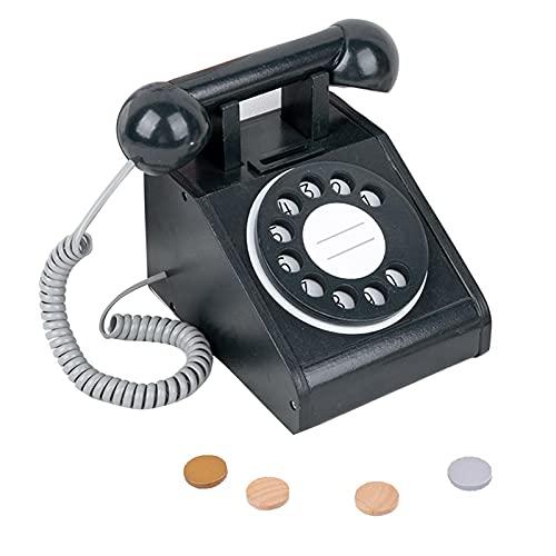 Raspbery Juguete para Teléfono De Madera para Niños, Teléfono De Simulación Interactivo De Enseñanza, Juguetes Preescolares Interactivos, A Partir De 3 Años (con 4 Monedas Simuladas) Usefulness