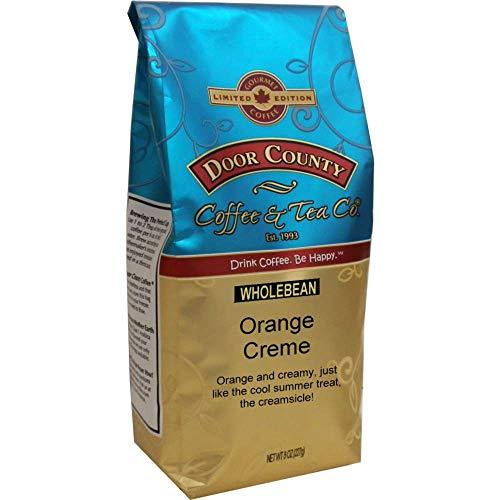 Door County Coffee, Spring & Summer Seasonal Blend, Orange Creme, Orange Creamsicle Flavored Coffee, Medium Roast, Whole Bean Coffee, 8 oz Bag