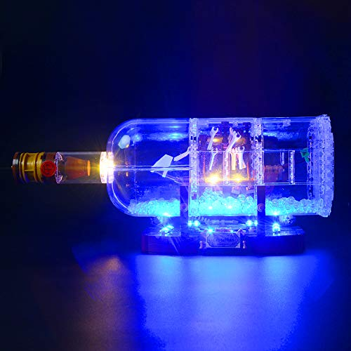 Briksmax Led Beleuchtungsset für Schiff in der Flasche, Kompatibel Mit Lego 21313 Bausteinen Modell - Ohne Lego Set