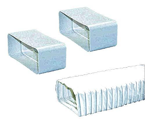Set für 150-er Abluft-System rechteckig flach - 2 Verbinder und 1 flexibler Abluftschlauch für Dunstabzugshauben
