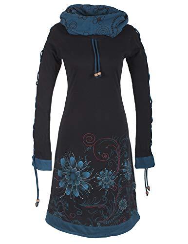 Vishes -Alternative Bekleidung - Bedrucktes Langarm Damen Blumen Kleid mit Schalkragen und Schnüren schwarz 46