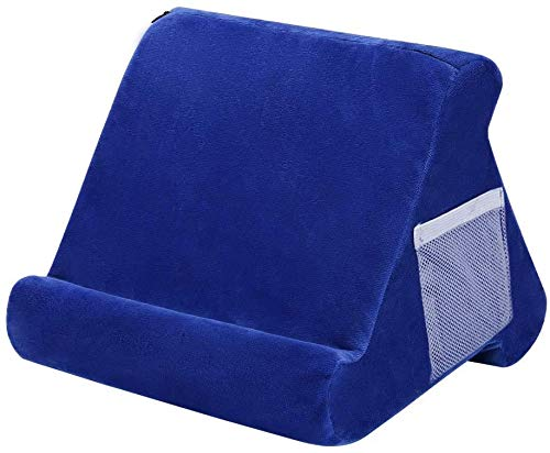 iPad Tablet Stand Pillow Holder - Multi-Angle Soft Tablet Pillow for Lap, Knee, Sofa and Bed - Universal Phone & iPad Stands for eReaders, Magazines, Kindle (blue with pocket)