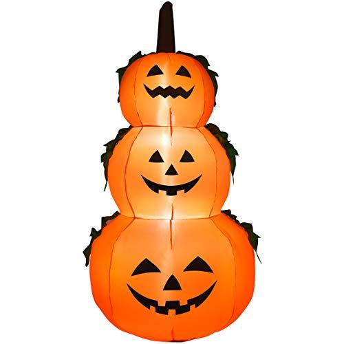 DREAMADE Set di 3 Zucche Luminose Accatastate per Halloween, Lanterne Gonfiabili con Design di Zucca, Ideale per Uso all'Esterno o all'Interno, con Altezza di 180 cm, Arancione e Nero