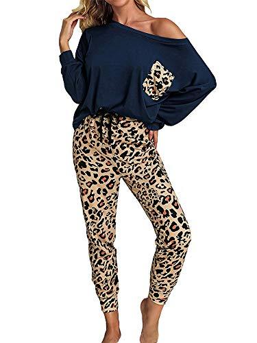 Set pigiama due pezzi da donna, lungo, con stampa con motivo leopardato e pantaloni lunghi, per dormire, abbigliamento comodo per casa Blu XL