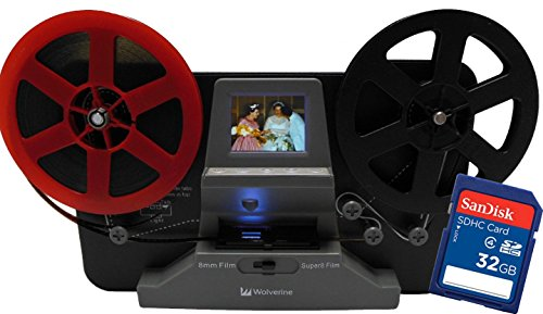 """Wolverine 8mm and Super8 Reels Movie Digitizer with 2.4"""" LCD, Black (Film2Digital MovieMaker), Includes 32GB SD Memory Card & Worldwide Voltage 110V/240V AC Adapter (Bundle)"""