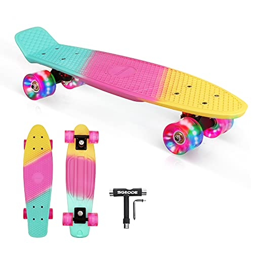 Mini Cruiser Skateboard 22'x6', SGODDE Monopatín Skateboard Complete con PU Ruedas Luminosas y Rodamiento ABEC-11,Skateboard Niño Niña,Tabla Skateboard para Principiantes y Adultos(con Herramienta T)