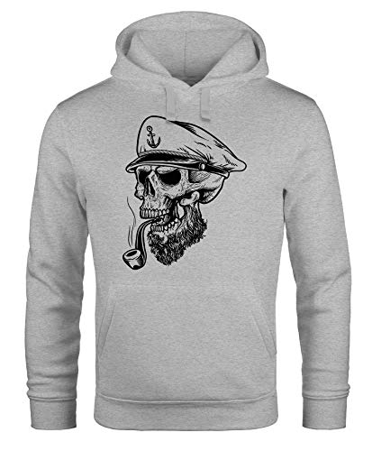 Neverless Herren Hoodie Totenkopf Kapitän Captain Skull Sailor Totenschädel Kapuzen-Pullover Männer grau 3XL