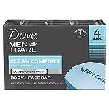 Dove Men Care Body + Face Bar Soap, Clean Comfort Mild Formula, 3.51 oz (100g) - 4 Bars