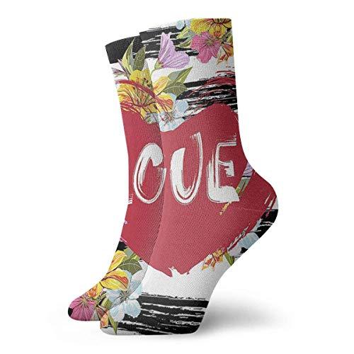 N / A Calcetines románticos Hombres Mujeres Calcetines deportivos deportivos Calcetines cómodos casuales 30 cm / 11.8 pulgadas