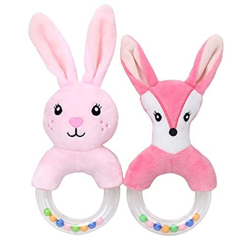 Sonajeros de bebé agitador de felpa timbre anillo sonajero de peluche de animales musicales juego de juguete de conejo de zorro suave juguete sonajero suministros de bebé 2 piezas JXNB