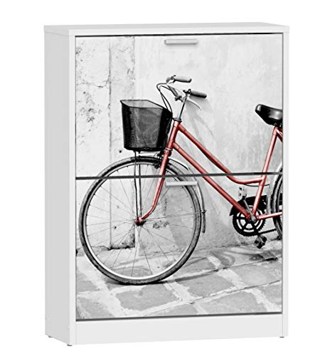 Miroytengo Mueble Zapatero 2 Baldas Serigrafiado Bicicleta Pasillo Entrada Almacenaje Auxiliar 80x60x24 cm