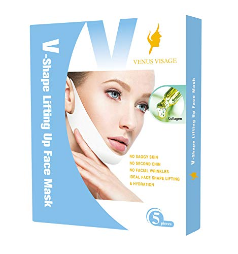V Line Lifting Mask V Shaped Slimming Face Mask Chin Up Patch Face Lift Tape Double Chin Reducer V Up Contour Tightening Firming Moisturizing Chin Neck V Shape Mask 5 PCS