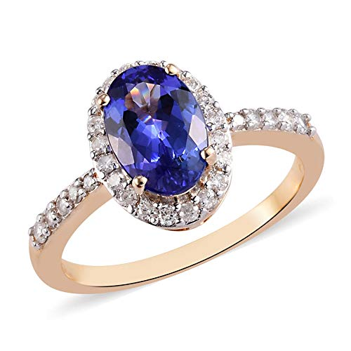 TJC AAA Tanzanite Halo Ring for Women in 9ct Yellow Gold Anniversary Jewellery Size M with White Diamond, TCW 2.04ct