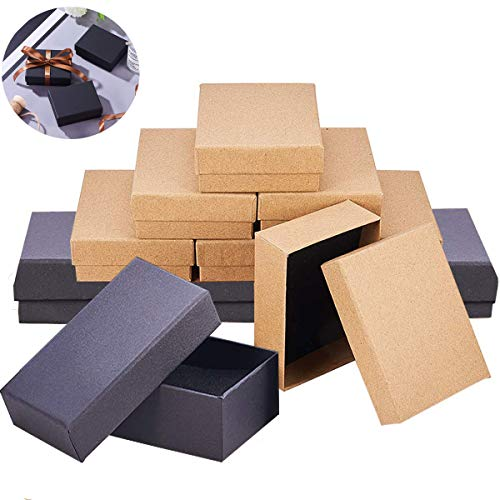 mengger Geschenkboxen karton mit Deckel Schmuck Schachteln Set Box Kraftpapierboxen Für Ring Halskette Rechteck 9 x 7 x 3 cm 12 Stück Geschenkschachtel schmuck