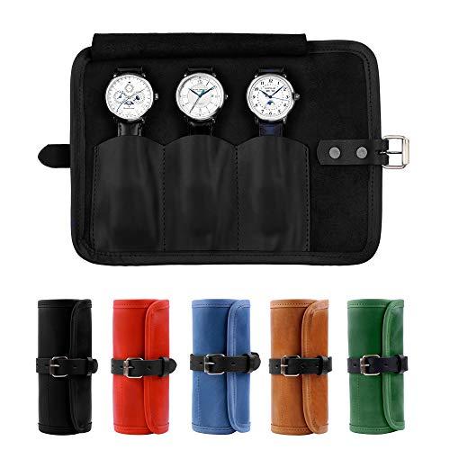 Karasto - Organizador de viaje de cuero con capacidad para hasta 3 relojes, hecho a mano, para hombres y mujeres, color negro