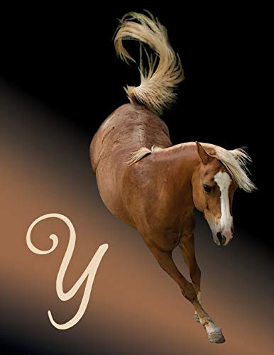 Horse Initial 'Y' Monogram Notebook: Custom Blank Lined Journal Personalized for Names Starting with Initial Letter Y (Jotter, Notepad, Composition Book)