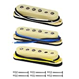 FLEOR Single Coil Pickup Alnico 5 Strat Pickups Guitar Neck/Middle/Bridge Pickups Staggered for Squier Stratocaster Pickups Replacement, Cream