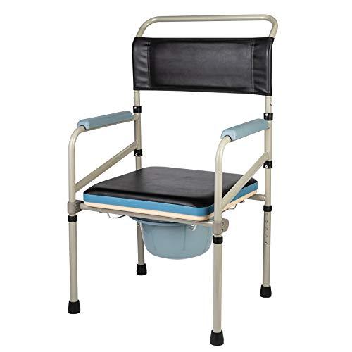 VONOYA Toilettenstuhl Höhenverstellbarer Toilettensitz WC Sitz mit Rutschfeste Gummifüße WC-Stuhl Nachtstuhl Klappbarer Stuhl mit eingebauter Toilette bis 150 kg