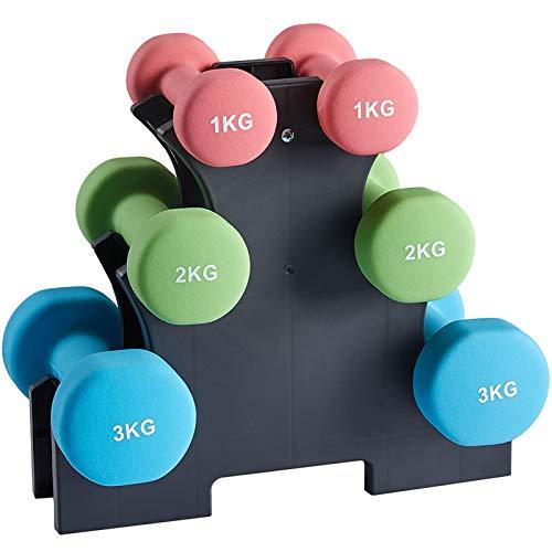 AMGYM Juego de Mancuernas de Neopreno, 2 x 1 kg, 2 x 2 kg, 2 x 3 kg, Juego de 6 Mancuernas con Soporte para Pesas, Entrenamiento de Fuerza, Gimnasio