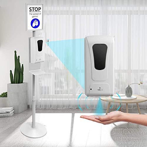 TZUTOGETHER Dispensador automático de desinfectante, 1000ML Ajustable Dispensador de Jabón automático de Pie con cartelera Dispensador de jabón en Gel Apto para el hogar, Restaurante, Escuela, Hotel