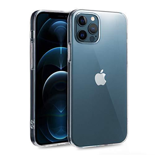 doupi UltraSlim Hülle kompatibel mit iPhone 12 & kompatibel mit iPhone 12 Pro (6,1 Zoll, Modell 2020), Ultra Dünn Clear TPU Glatte Ruschfeste Oberfläche Design Handyhülle, transparent