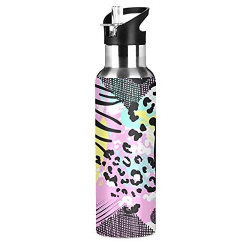 ADKing - Botella de agua con estampado de leopardo de cebra, color animal, 20 onzas, para deportes, a prueba de fugas, botella de agua sin BPA, acero inoxidable