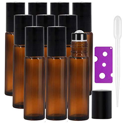 Yalbdopo Lot de 10 flacons en verre ambré rechargeables 10 ml avec couvercles noirs 12 étiquettes, 1 compte-gouttes et 1 ouvre-bouteille inclus Idéal pour l'aromathérapie