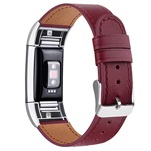 Tobfit Kompatibel für Fitbit Charge 2 Armband, Klassische Echtleder-Armband-Metallverbinder für Fitbit Charge 2 (Kein Uhr) (07 Weinrot, 5.5