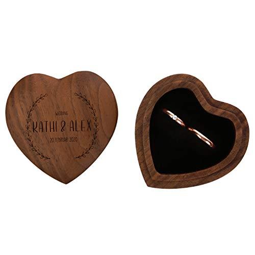 FORYOU24 Ringkissen als Herz aus Holz mit Gravur zur Hochzeit Motiv 02 dunkel - Ring Schatulle mit Deckel personalisiert, Namen und Datum, Holz Ringbox zur Trauung oder Verlobung, Ringträger