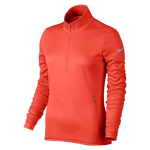 NIKE Thermal 1/2 Zip Camiseta de Manga Larga de Golf, Mujer, Naranja (MAX Orange/MAX Orange/Wolf...