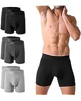 PUMIEY Mens Underwear Boxer Briefs Cotton No Ride Up Fly Front with Pouch Underwear (6pack) Medium,Blcak,Dark Grey,Light Grey