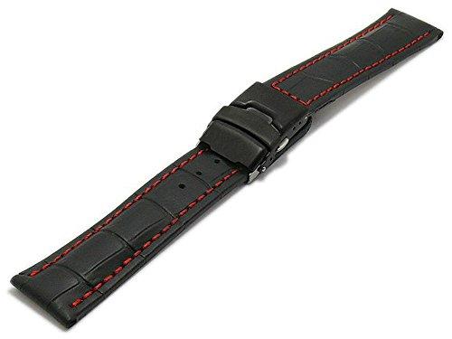 Meyhofer Uhrband Singapur 22mm schwarz Leder Alligator-Prägung rote Naht Schwarze Faltschließe MyHekslb202/22mm/schwarz/roN/FS