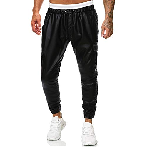 KERULA Herren Mode Freizeit Winterhose, Slim Fit Tasche Lederhose Einfarbig Freizeithose Trainingsanzug Jog Pants Sport Trousers Jogging Sweatpants Jogginghose Sporthose