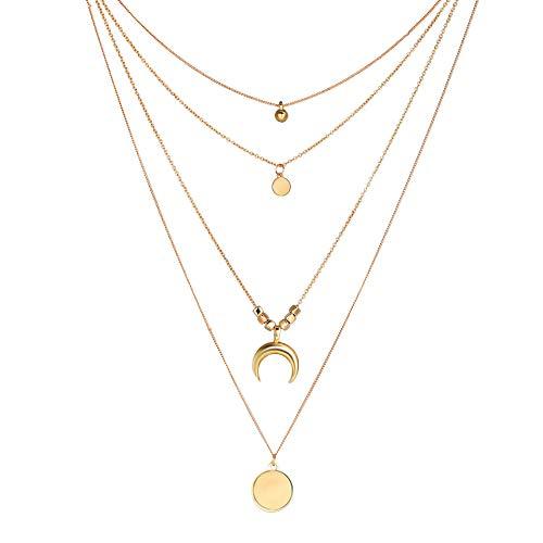 CNNIK Collar de múltiples capas Gargantilla para mujeres niñas luna moneda redonda Estilos góticos de múltiples capas collar de cadena ajustable collar de moda
