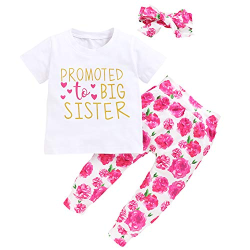 Toddler Girls Sister Floral Pants Set Baby Promoted to Big Sister Short Sleeve Shirt+Floral Pants+Headband 3Pcs Outfits (Big Sister-A, 18-24 Months)