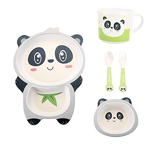 Set da tavola in fibra di bambù con piatto in bambù per bambini, tazza cucchiaio e forchetta, graziosa stoviglie ecologiche e lavabili in lavastoviglie (Panda)