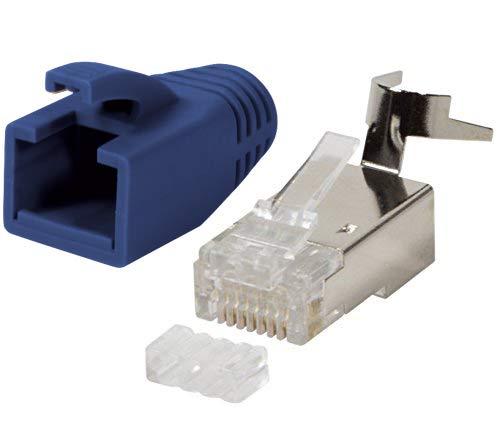 odedo 10er Pack Crimp connettore blu cat 7, Cat 7a, Cat 6a rete per fino a 8mm 10Gigabit Ethernet Gigabit completa o Stagnati 1.2mm di 1.45mm RJ45maschio metallo schermato con ausilio