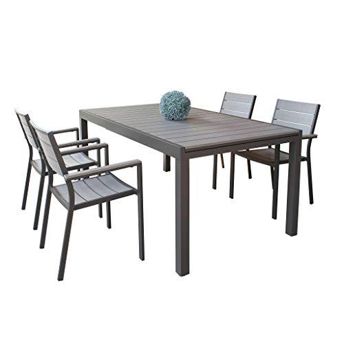 Set Tavolo e sedie da Giardino per Esterno in Alluminio cm 180/240 x 100 x 73 h con 4 sedute Colore Taupe