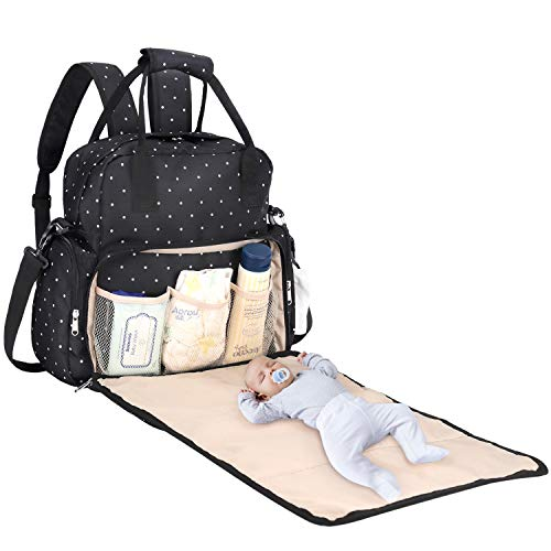 Baby Diaper Bag, SAWNZC Large Baby Bag Tote Multi-functional Travel Backpack Maternity Nappy Shoulder Bag with Changing Mat, Insulated Pockets-Black