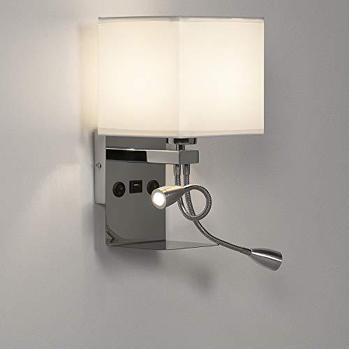 ledmo Wandleuchte Dimmbar Nachttischlampe E27,2 in 1 Leselampe,Wandlampe Innen mit 2 Kippschalter,Modern Leselicht Flexiblem,LED Bettlampe dimmbar mit USB-Schnittstelle