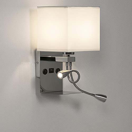 LEDMO Lámpara mesita noche, Aplique pared dormitorio lectura interior regulable e27, Lampara de pared con 2 luces de lectura flexibles ajustables y 1 interfaz USB (incluida bombilla regulable)