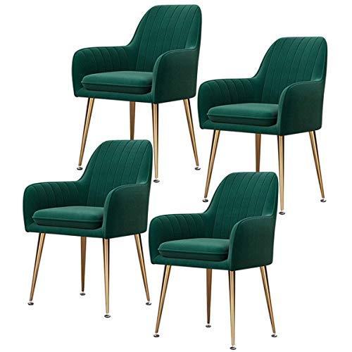 N/Z Wohnausrüstung 4er-Set Retro-Esszimmerstühle Samtsitz Metallbeine Sessel mit Rückenlehne und Paed Seat Küchenstühle für Wohnzimmerempfangsstühle (Farbe: Blau Größe: Schwarze Beine)