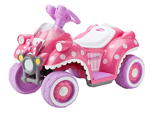 Kid Trax Toddler Disney Minnie Mouse 6V Electric Quad Ride On Toy, Kids 1.5-3 Years Old, Max Weight 45 Pounds, pink (KT1123AZA)