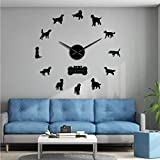 ZYZYY 37 Pulgadas-Setter Irlandés DIY Mute Mudo Reloj De Pared Gundog Raza De Perro Sin Marco Arte Reloj Setter Rojo Reloj Decorativo Grande Tienda De Mascotas Decoración-Negro