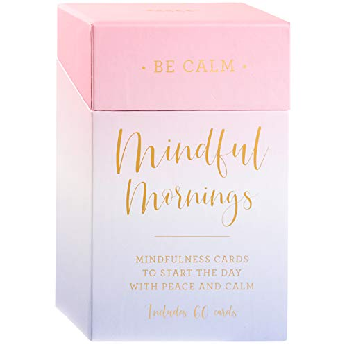 Eccolo Mindful Mornings - 60 Mindfulness Cards - Self Care Cards for Peace, Calm, Daily Positive Thoughts and Affirmations - Mindfulness Gifts & Positive Affirmations Cards for Women
